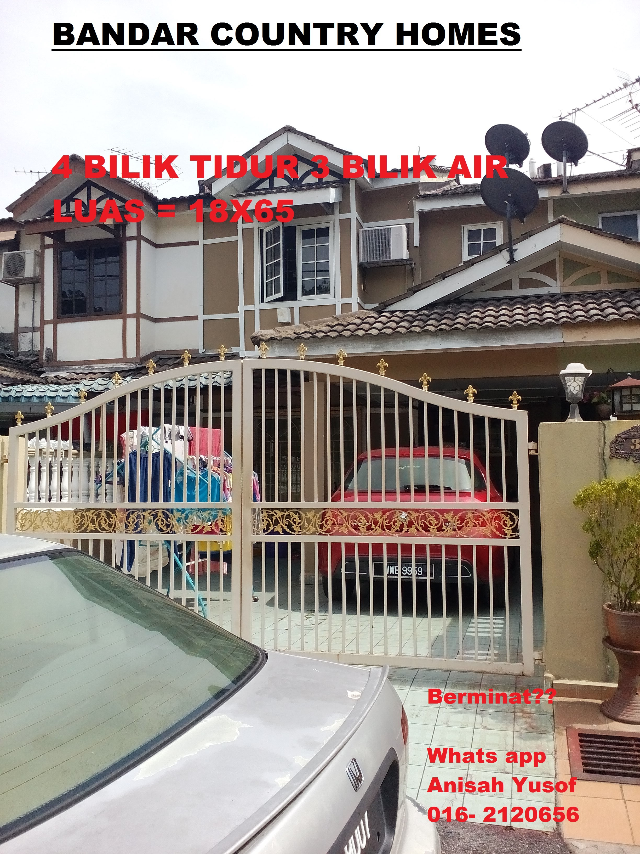 FOR SALE RUMAH MAMPU MILIK – COUNTRY HOMES RAWANG